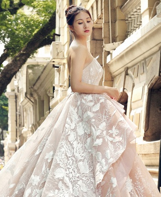 Applique Organza Strapless Ball Gown Sweep Train Prom Dresses_5