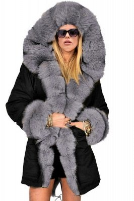 Beautiful Casual Long Sleeves Hooded Faux Fur Women Coat_1