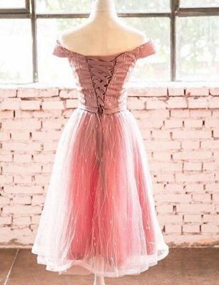 Élégante ligne manches courtes une ligne hors- la-épaule robe de retour de longueur de thé_3