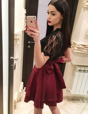 Sexy A-Line Lace V-Neck Bow Short Sleeves Homecoming Dress_4