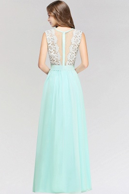 A-line Chiffon Lace Jewel Sleeveless Floor-Length Bridesmaid Dress with Ruffles_3