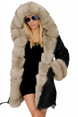 Pretty Overcoat Long Sleeves Faux Fur Winter Lining Coats_1