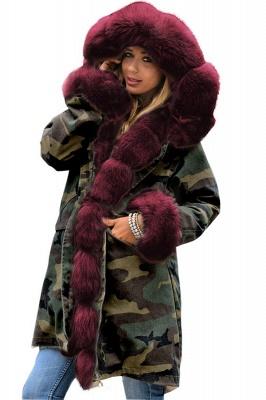 Beautiful Warm Winter Hooded Outwear Faux Fur Camouflage Long Sleeves_1