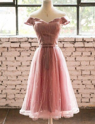 Élégante ligne manches courtes une ligne hors- la-épaule robe de retour de longueur de thé_1