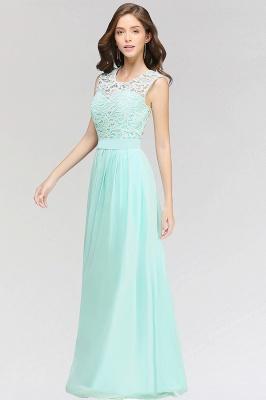 A-line Chiffon Lace Jewel Sleeveless Floor-Length Bridesmaid Dress with Ruffles_2