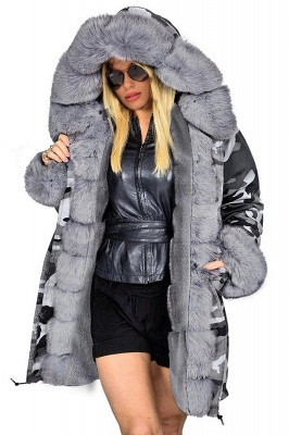 Casual Long Sleeves Solid Faux Fur Outcoat Women Coat_2