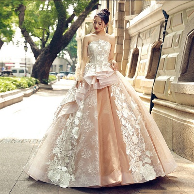 Applique Organza Strapless Ball Gown Sweep Train Prom Dresses_1