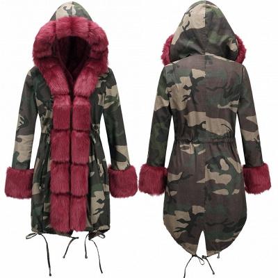 Beautiful Warm Winter Hooded Outwear Faux Fur Camouflage Long Sleeves_12