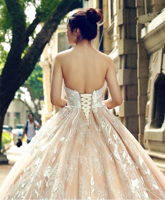 Applique Organza Strapless Ball Gown Sweep Train Prom Dresses_6