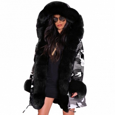 Casual Long Sleeves Solid Faux Fur Outcoat Women Coat_1