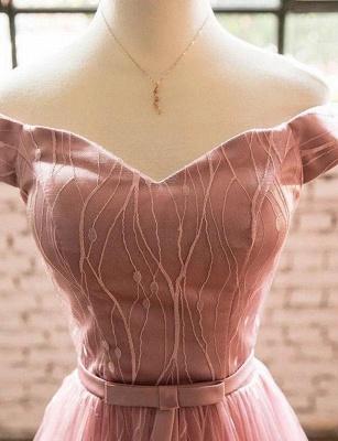 Élégante ligne manches courtes une ligne hors- la-épaule robe de retour de longueur de thé_4