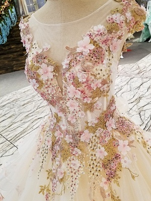 Romántico una línea Bateau sin mangas con cremallera Beadings apliques vestido de gala con volantes_3