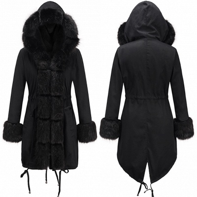 Puffer Long Sleeves Faux Fur Thicker Down Jacket Trimmed Hooded_8