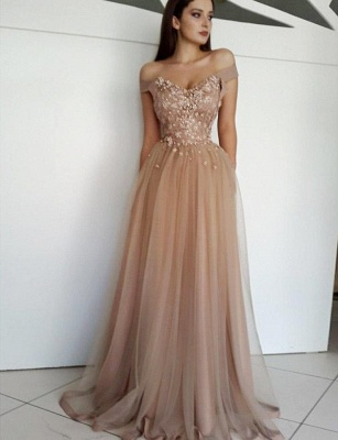 Charming Appliques A-Line Tulle Off-the-Shoulder Floor-Length Evening Dress_2