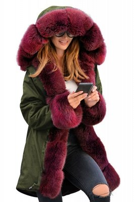 Winter Autumn Faux Fur Overcoat Hooded Parka Casual Jacket