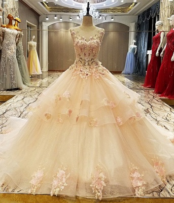 Elegant Floor-length Crew Sleeveless Lace-up Appliques Prom Dress With Ruffles