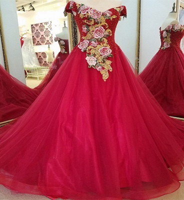 Stunning Red Floor-length V Neck Off-the-shoulder Lace-up Beading Appliques Evening Gown
