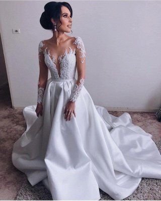 Elegant V-Neck Long Sleeves A-Line Appliques Wedding Dress