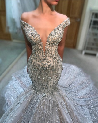 Charming Off-the-Shoulder Tulle Beading Mermaid Court Train Wedding Dress