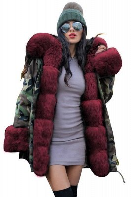 Beautiful Warm Winter Hooded Outwear Faux Fur Camouflage Long Sleeves