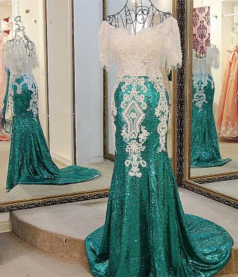 Decent Bateau Lace-up Off-the-shoulder Mermaid Floor-Length Appliques Prom Dress