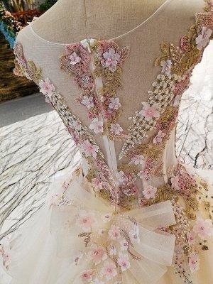 Romántico una línea Bateau sin mangas con cremallera Beadings apliques vestido de gala con volantes_4