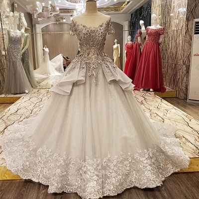 Dignified Capsleeves A Line Floor-length Beading Prom Gown With Ruffles And Applique
