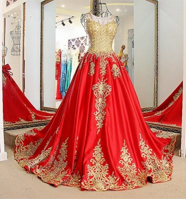 2019 Red A Line Bateau Sleeveless Floor-Length Evening Gown With Appliques