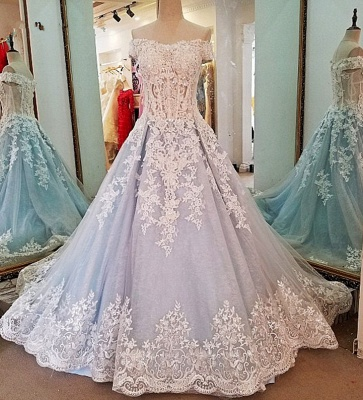 Chic Off-the-shoulder V Neck A Line Floor-length Prom Gown With Lace Appliques