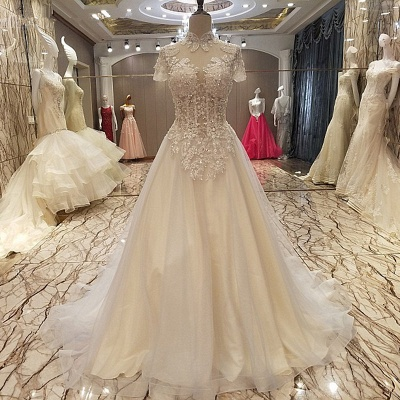 Luxurious A Line High Neck Lace-up Floor-length Prom Dress With Appliques And Beadings