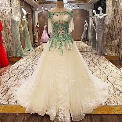Gorgeous Lace-up A Line Off-the-shoulder Appliques Floor-Length Prom Dress With Beadings
