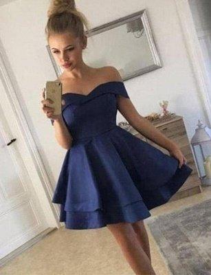 Stunning A-Line Off-the-Shoulder Tiered Short Prom Homecoming Dress_1