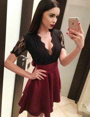 Sexy A-Line Lace V-Neck Bow Short Sleeves Homecoming Dress_3