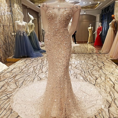 Decent Bateau Mermaid Capsleeves Floor-length Crystal Evening Dress With Sequins