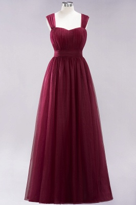 A-Line Popular Sweetheart Straps Sleeves Floor-Length Bridesmaid Dresses with Ruffles_3