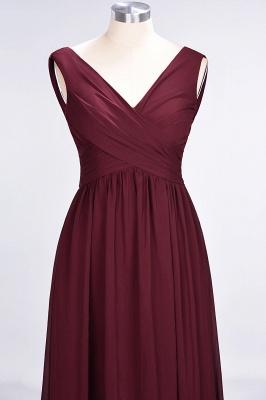 Chiffon A-Line Straps V-Neck Sleeveless Long Bridesmaid Dress with Ruffles_11