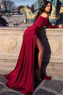 Charming Off-the-Shoulder V-Neck Long Sleeves Front Slipt Prom Dress_2