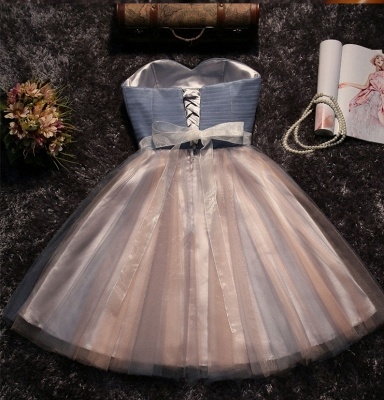 Shiny A-Line Lace Strapless Sleeveless Prom Dress with Bow_3