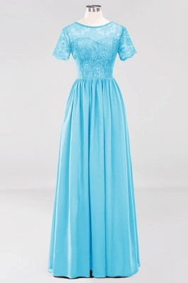 A-line Chiffon Lace Jewel Short-Sleeves Floor-length Bridesmaid Dress_23