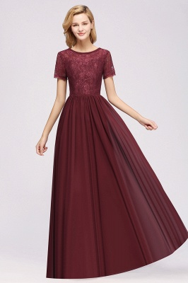 A-line Chiffon Lace Jewel Short-Sleeves Floor-length Bridesmaid Dress_35