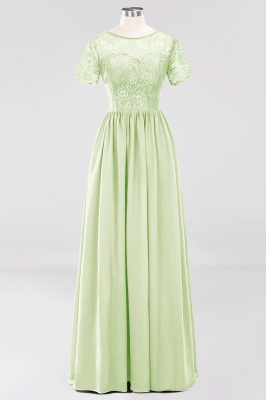 A-line Chiffon Lace Jewel Short-Sleeves Floor-length Bridesmaid Dress_33