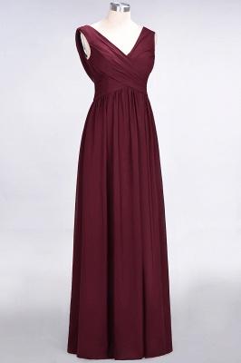 Chiffon A-Line Straps V-Neck Sleeveless Long Bridesmaid Dress with Ruffles_10