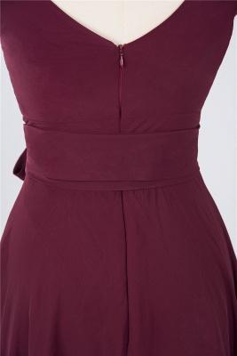 Chiffon A-Line Straps V-Neck Sleeveless Ruffles Short Bridesmaid Dress with Bow Sash_4