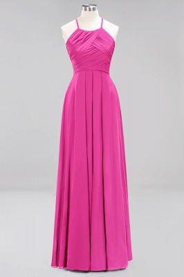A-Line Chiffon Halter Ruffles Floor-Length Bridesmaid Dress_9