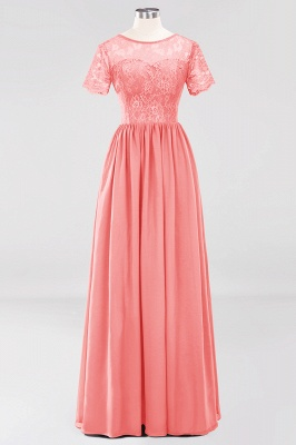 A-line Chiffon Lace Jewel Short-Sleeves Floor-length Bridesmaid Dress_7