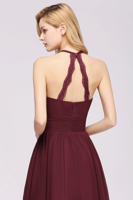 A-line Chiffon Appliques Halter Sleeveless Floor-Length Bridesmaid Dresses with Ruffles_6