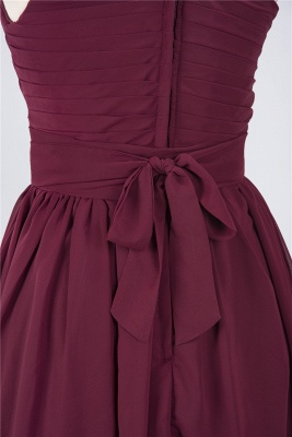 Chiffon A-Line One-Shoulder Sleeveless Short Bridesmaid Dress with Ruffles_5