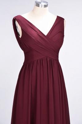 Chiffon A-Line Straps V-Neck Sleeveless Long Bridesmaid Dress with Ruffles_12