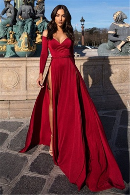 Charming Off-the-Shoulder V-Neck Long Sleeves Front Slipt Prom Dress_3