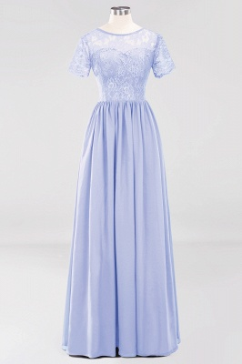 A-line Chiffon Lace Jewel Short-Sleeves Floor-length Bridesmaid Dress_21